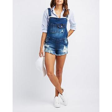 Charlotte Russe Machine Jeans Destroyed Denim Shortalls