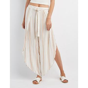 Charlotte Russe Striped Wrap-tie Palazzo Pants