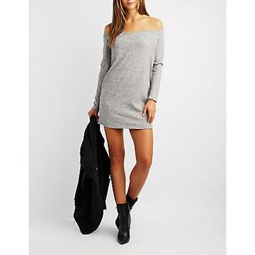 Charlotte Russe Wrapped Off-the-shoulder Shift Dress