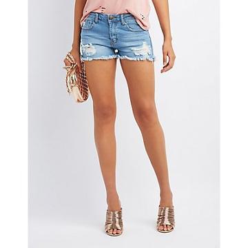 Charlotte Russe Machine Jeans Mid-rise Distressed Denim Shorts