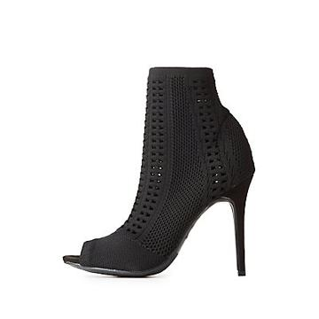 Charlotte Russe Open-knit Peep Toe Ankle Booties