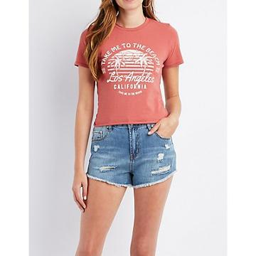 Charlotte Russe Take Me To The Beach Tie-back Graphic Tee