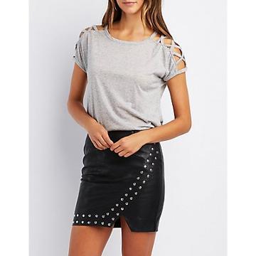 Charlotte Russe Lattice-inset T-shirt