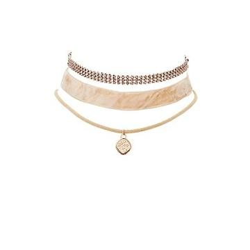 Charlotte Russe Plus Size Velvet, Charm & Chainmail Choker Necklaces - 3 Pack