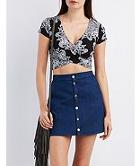 Charlotte Russe Paisley Print Wrapped Crop Top