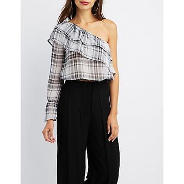 Charlotte Russe Gingham Ruffle-trim One-shoulder Top