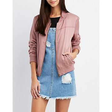 Charlotte Russe Embroidered Twill Bomber Jacket