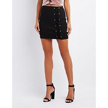Charlotte Russe Lace-up Mini Skirt