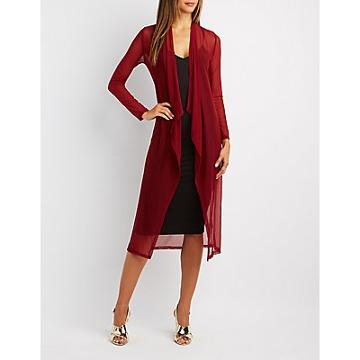 Charlotte Russe Mesh Open-front Duster