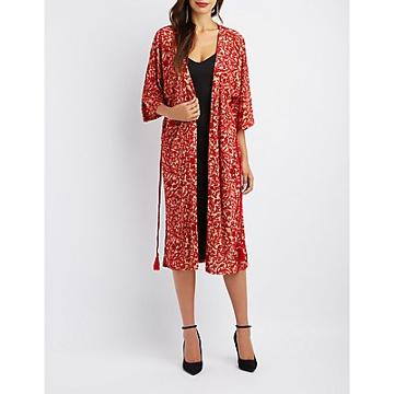 Charlotte Russe Flocked Tie-front Duster