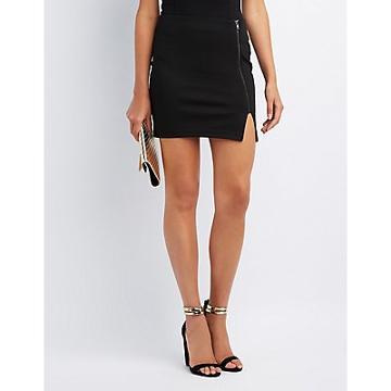 Charlotte Russe Zip-up Bodycon Mini Skirt