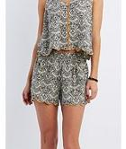 Charlotte Russe Scalloped Floral Print Shorts