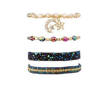 Charlotte Russe Iridescent Celestial Layering Bracelets - 4 Pack