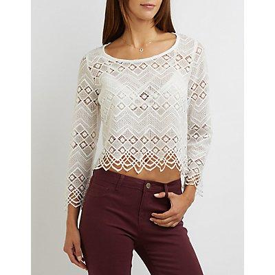 Charlotte Russe Chevron Crochet Lace Top