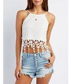 Charlotte Russe Lace & Crochet Crop Top