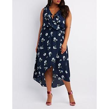 Charlotte Russe Plus Size Floral Ruffle-trim Wrap Dress