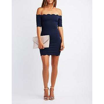 Charlotte Russe Scalloped Off-the-shoulder Bodycon Dress