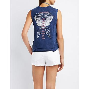 Charlotte Russe American Rock Tour Graphic Muscle Tee