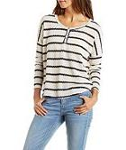 Charlotte Russe Striped Henley Pullover Sweater