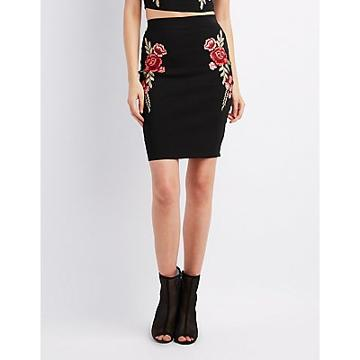 Charlotte Russe Floral Embroidered Bodycon Skirt