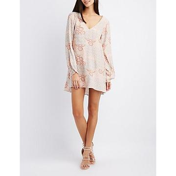 Charlotte Russe Printed Open Back Shift Dress