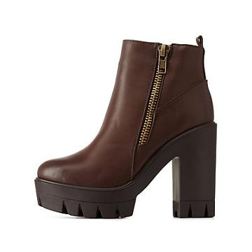 Charlotte Russe Bamboo Zipper-trim Ankle Booties