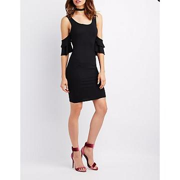 Charlotte Russe Ruffle Cold Shoulder Bodycon Dress