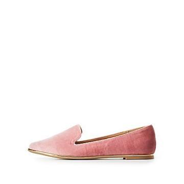 Charlotte Russe Velvet Gold-trim Loafers