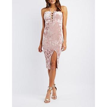 Charlotte Russe Velvet Strapless Lace-up Dress