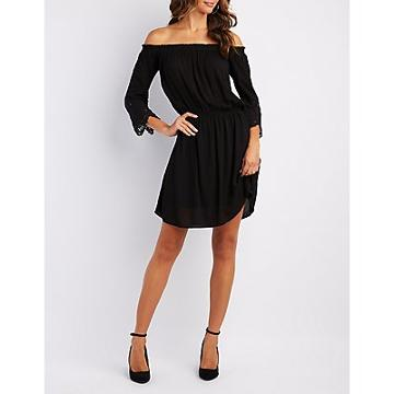 Charlotte Russe Crochet-inset Off-the-shoulder Dress