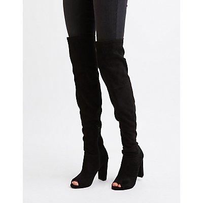 Charlotte Russe Peep Toe Thigh High Boots