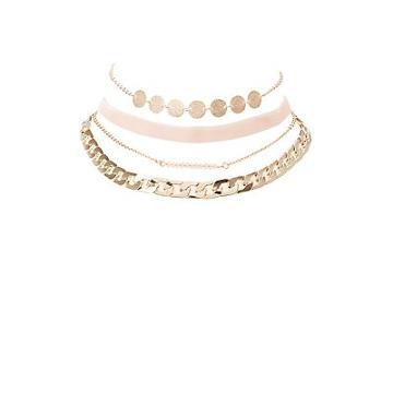 Charlotte Russe Beaded, Chainlink & Velvet Choker Necklaces - 4 Pack