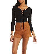Charlotte Russe Lace-up Ribbed Crop Top