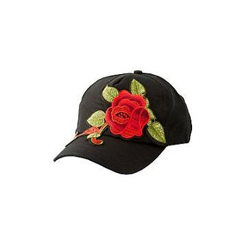 Charlotte Russe Rose Embroidered Baseball Hat