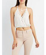 Charlotte Russe Lace-trim Surplice Crop Top