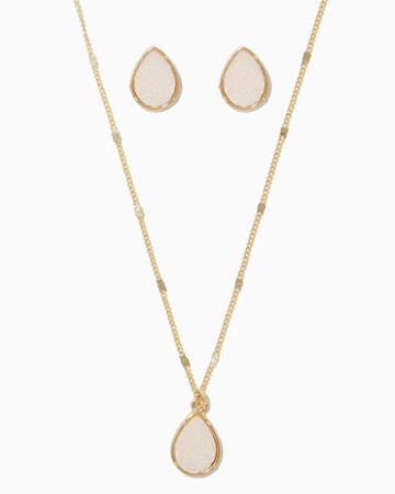 Charming Charlie Beaux Druzy Necklace Set