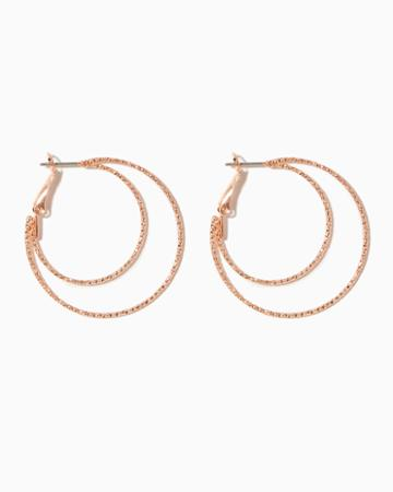 Charming Charlie Diamond Cut Double Hoop Earrings