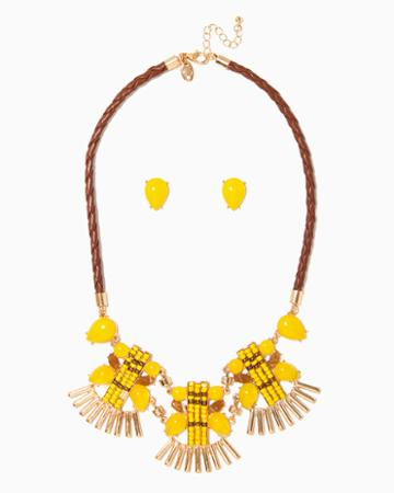 Charming Charlie Tiki Bib Necklace Set