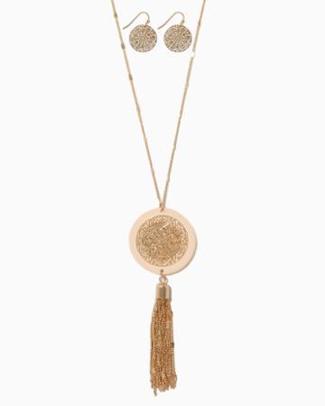 Charming Charlie Larimar Tassel Necklace Set