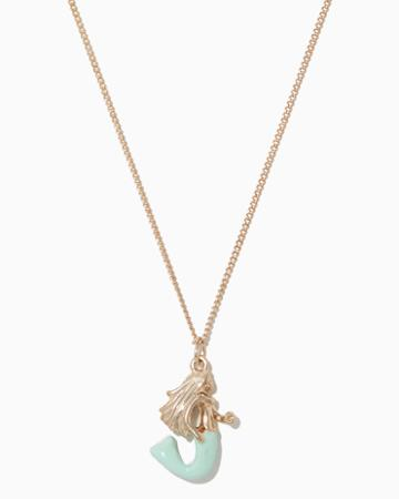 Charming Charlie Mermaid Enamel Pendant Necklace