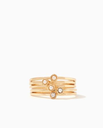 Charming Charlie Scalloped Bezel Ring Set