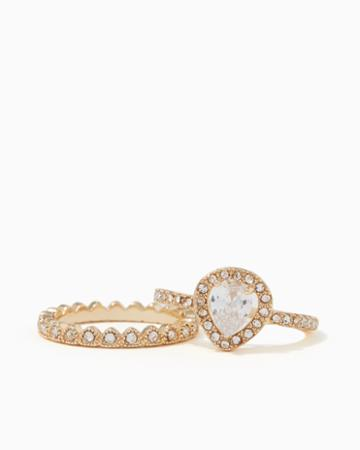 Charming Charlie Crown Jewel Ring Set