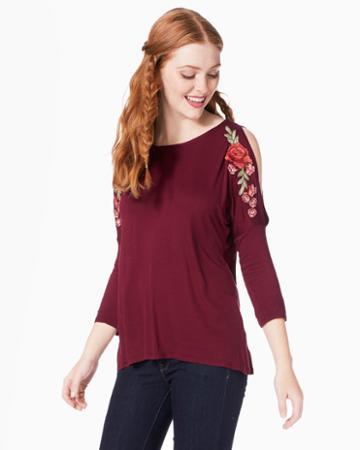 Charming Charlie Ellory Floral Cold-shoulder Top