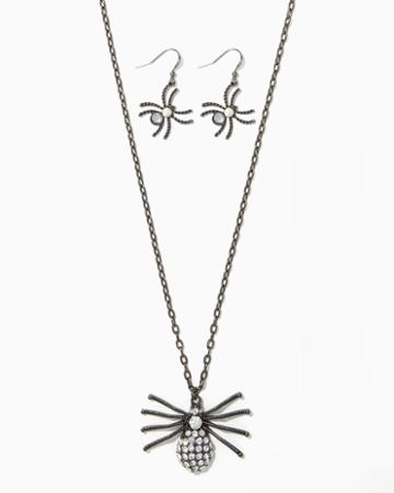 Charming Charlie Spider Gem Necklace Set