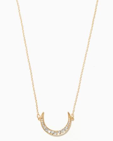 Charming Charlie Side Pav Crescent Necklace