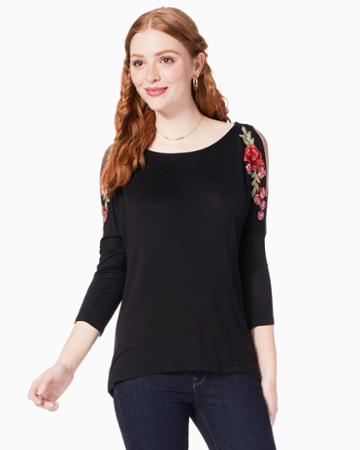 Charming Charlie Mai Floral Patch Swing Top