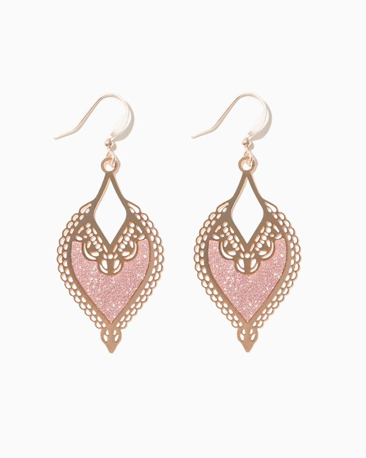 Charming Charlie Filigree Rose Stardust Earrings