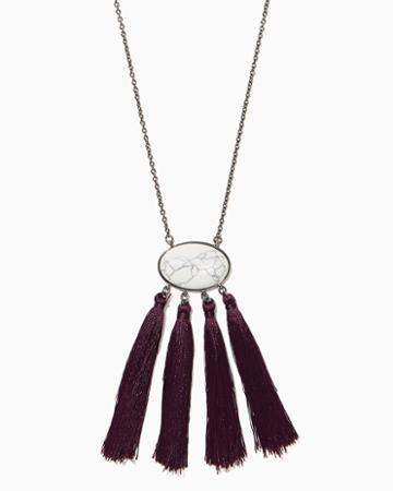 Charming Charlie Marble Pendant Tassel Necklace