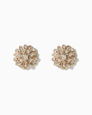Charming Charlie Floral Rhinestone Stud Earrings
