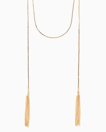 Charming Charlie Klybos Double Tassel Necklace